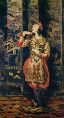 Jacques Emile Blanche, Portrait of Nijinsky en danseur oriental, costume by Leon Bakst, 1910