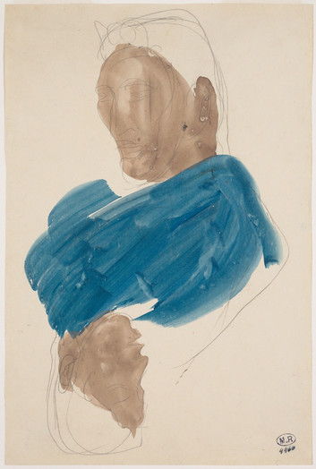 """Double portrait of Cambodian, head to tail."" July 1906. Auguste Rodin (1840 -1917)"