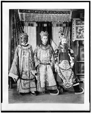 Three actors from Theatre Annamite, full-length portrait, in costumes, Paris Exposition, 1889