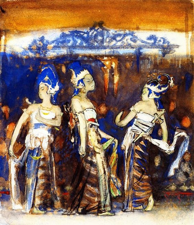 """Javanese Dancing Girls, 1889."" By John Singer Sargent (1856-1925)."