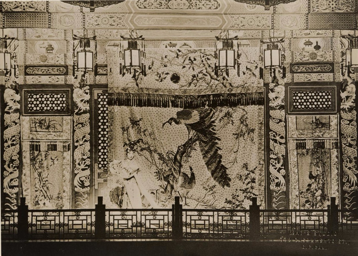 Mei Lan-fang on stage with an elaborate embroidered back drop during his U.S. tour, Digital Archive of Chinese Theater in California, May Studio, 1930 to 1939