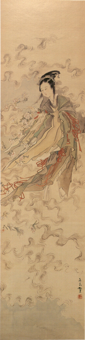 Ren Xun 任薰 (1835-1893), The Goddess Spreads Flowers. Painting, ink and color on silk.