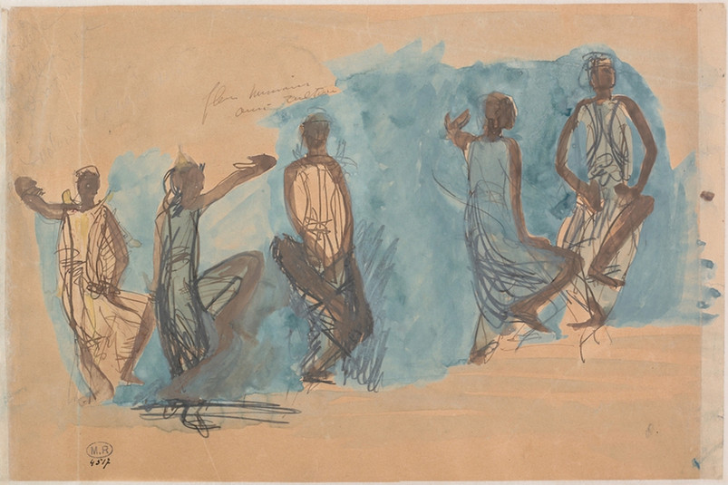 """Five studies of Cambodian dancers."" July 1906. Auguste Rodin (1840 -1917)"