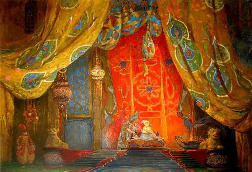 Leon Bakst, Design drawing for the Set of Shéhérazade,  1910
