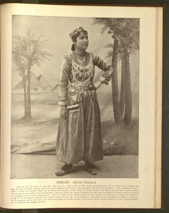 """Jamelee (Syrian Dancer)."" Oriental and Occidental, Northern and Southern: Portrait Types of the Midway Plaisance. St. Louis: N.D. Thompson, 1894."