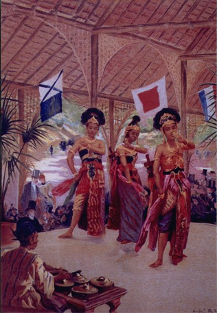"""""""The Javanese dancers."""" Review of the Universal Exhibition of 1889 , Volume 1  fig.104bis - Engraving André Brouillet - Library Forney"""