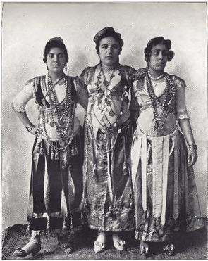 """Three Dancing Girls from Egypt."" Buel, J.W. Magic City. St. Louis: Historical Publishing, 1894."