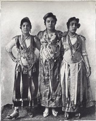 """Three Dancing Girls from Egypt."" Buel, J.W. Magic City. St. Louis: Historical Publishing, 1894."