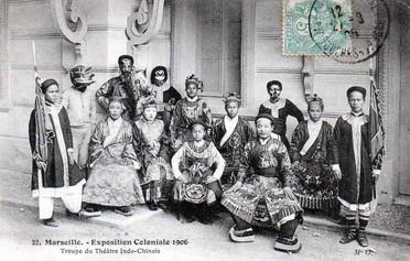 """""""Les acteurs, actrices et figurants du théâtre indo-chinois à l'Exposition de Marseille."""" 1906 Marseille Colonial Exhibition"""