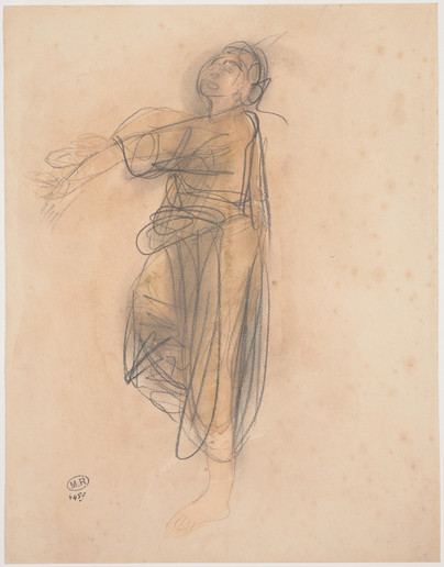 """""""Cambodian dancer, in profile to the left."""" July 1906. Auguste Rodin (1840 -1917)"""