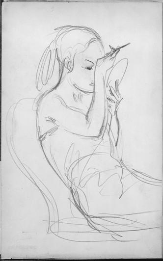 """Javanese Dancer Applying Make-up."" From Sketchbook of Javanese Dancers, 1889. By John Singer Sargent (1856-1925)."