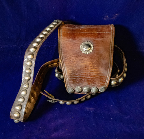 Leather and Silver Belt with Pouch