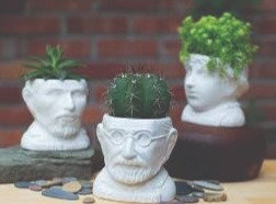 Sigmund Freud Bust Succulent Planter - Plant Holder Pot for Small Cactus, Flower