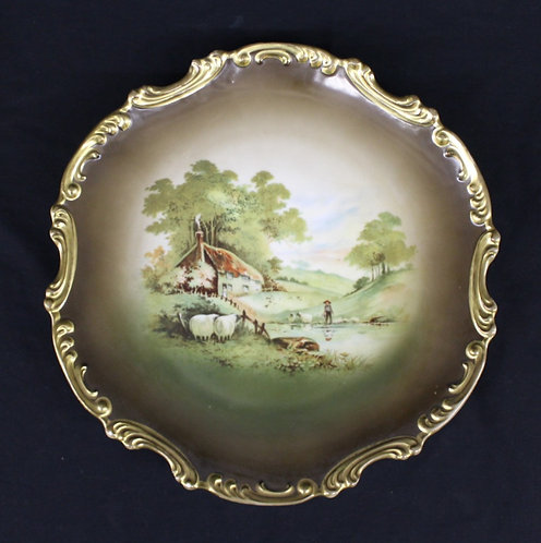 Painted Plate with River Scene and Sheep