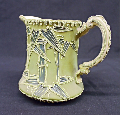 Ceramic Raised-Leaf Pattern Pitcher
