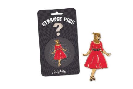 SQUIRREL IN RED DRESS ENAMEL PIN