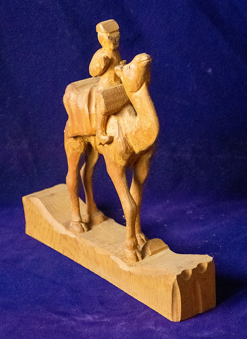 Wooden Carving of a Camel and Rider
