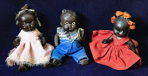 Black Bisque Doll Family