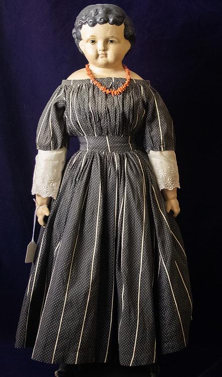 Paper Mache Doll in Black Dress