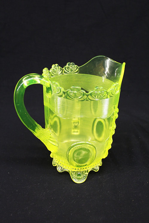 Dewey Pattern Vaseline Glass Pitcher