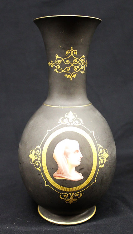 Black Vase with Gold Inlay and Woman's Head