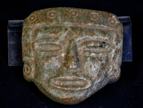 Carved Prehistoric Mexican Face Statue