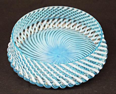 Two-toned Pressed Aqua Glass Bowl