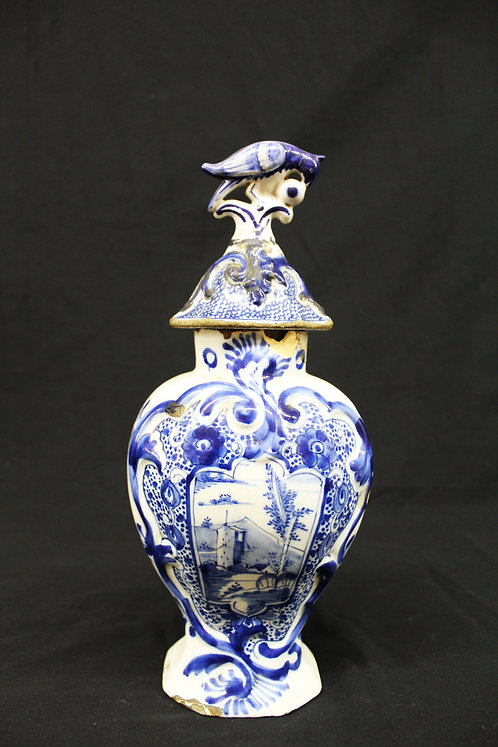 Blue and White Delft China Vase