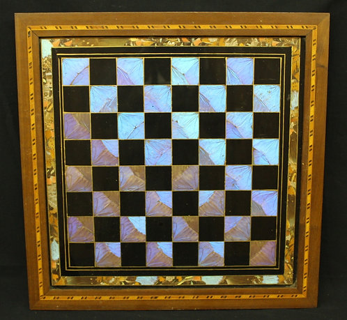 Chess Board with Iridescent Butterfly Wings