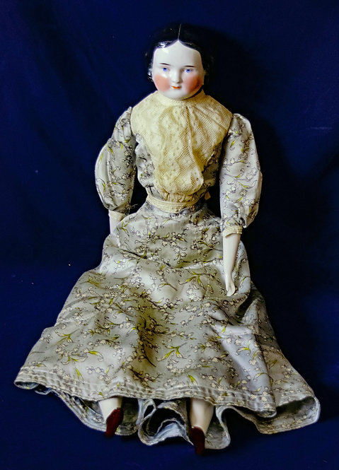 China Head Doll with Grey Dress