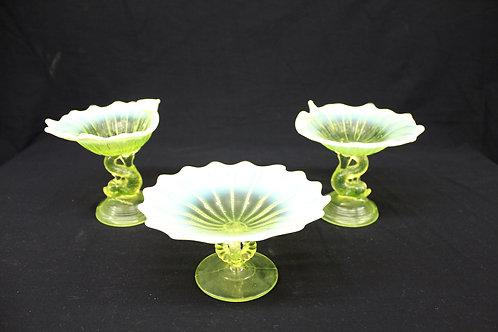 Vaseline Glass Compote Trio