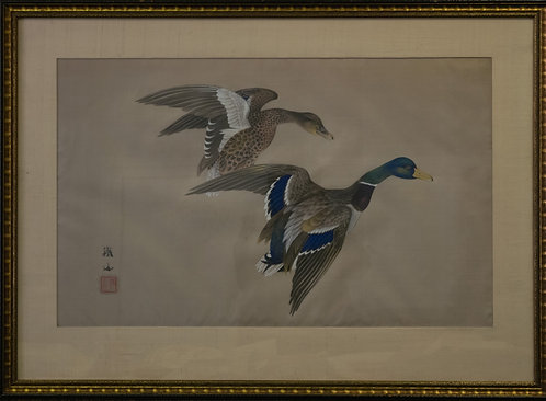 Tetsuzan Hori Flying Ducks Painting