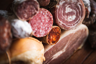 Closeup of charcuterie meat products foo