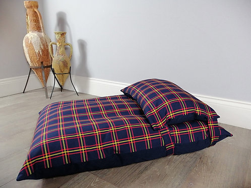 Navy Check Dog Bed Made In Britain