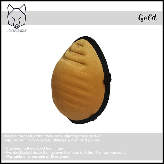 Washable and Reusable, protective face mask Gold