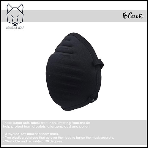 Washable and Reusable, protective face mask Black