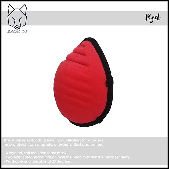 Washable and Reusable, protective face mask Red