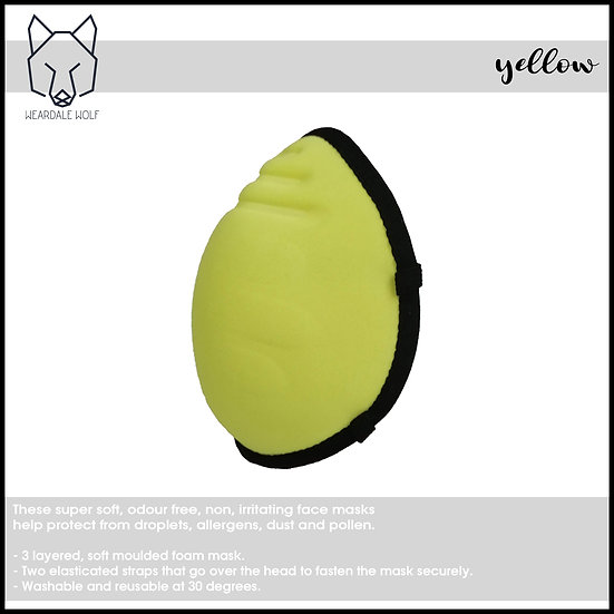 Washable and Reusable, protective face mask Yellow