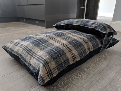 Luxury UK Dog Bed in Brown Wool Country Check