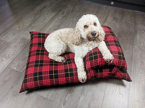 Luxury Red Tartan Dog Bed UK