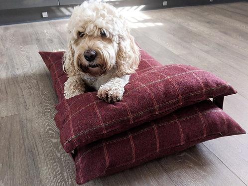 Luxury UK Dog Bed in Red Herringbone Country Check