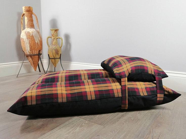 Luxury Beige & Claret Tartan Dog Bed UK