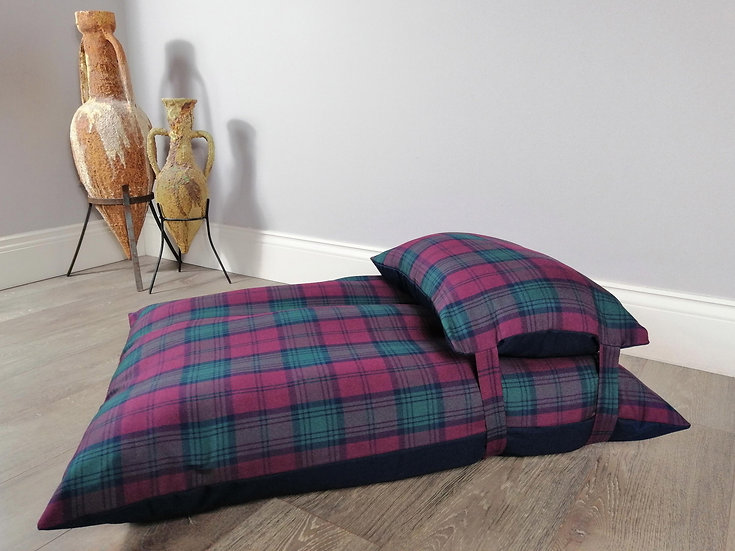 Luxury Wine & Green Tartan Dog Bed UK