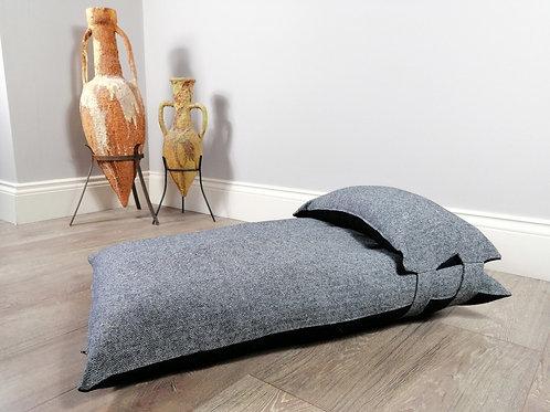 Stylish Grey & Black Herringbone Luxury Dog Bed UK with Head Pillow