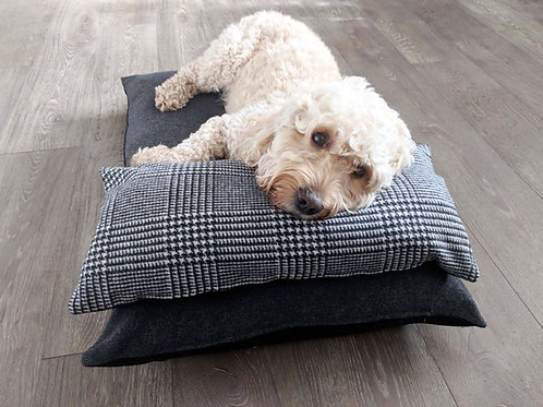 Luxury Dog Bed UK with Prince of Wales Check Head Pillow
