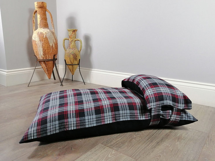 Grey and Black Tartan Checked Luxury Dog Bed UK