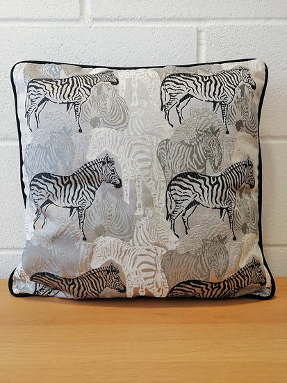 Zebra Animal print cushion covers black, white, grey, silver