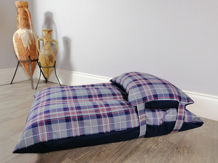 Blue and grey checked dog bed