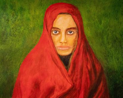 portrait d'une femme enrobée d'un châle rouge sur fond vert - Acrylique 40 x 30