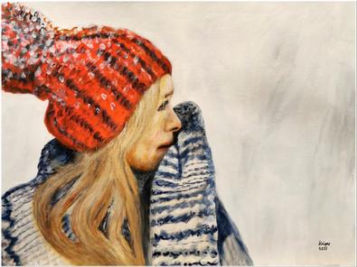 Portrait d'une jeune fille avec un bonnet et des mitaines - CS2421 - Acrylique 40 x 30